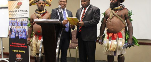 Dr. Ken Ngangan and Hon. James Marape launching DoF Corporate Plan 2018-2022